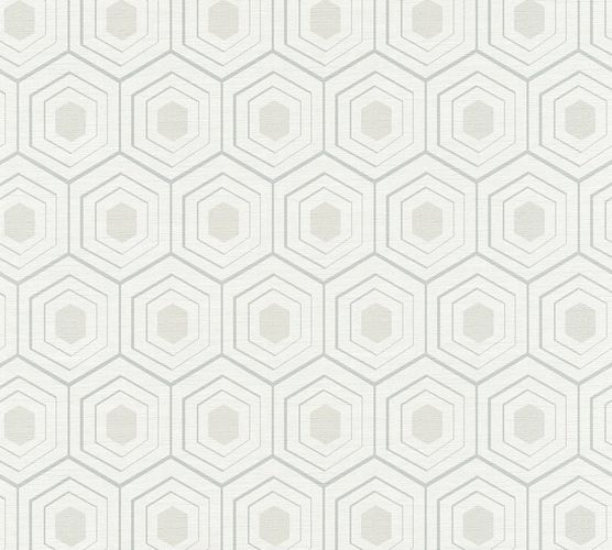 Wallpaper comb pattern white grey AS Creation 35899-2