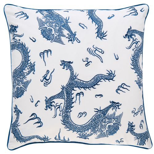 Kissenhülle BARBARA Home Collection Drache weiß blau 50x50cm online kaufen