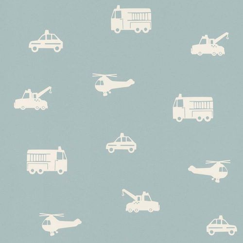 Kids Wallpaper Cars Helicopter Fire Truck blue white 028864 online kaufen