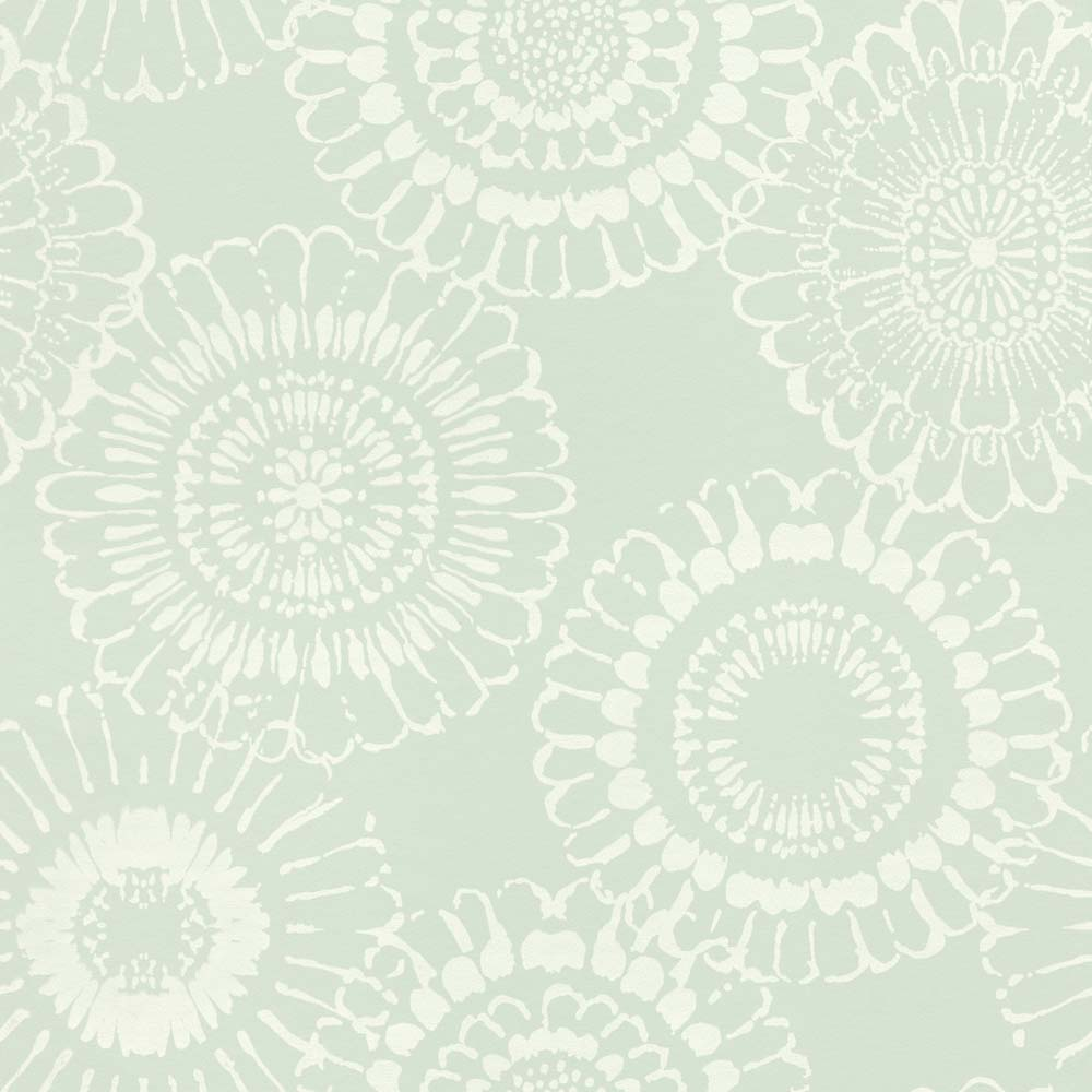 Kids Wallpaper Flowers Blossom Mint Green White 128861