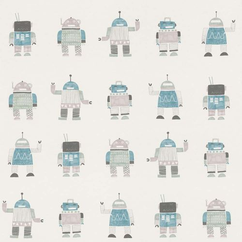 Kids Wallpaper Robots turquois grey World Wide Walls 138938 online kaufen