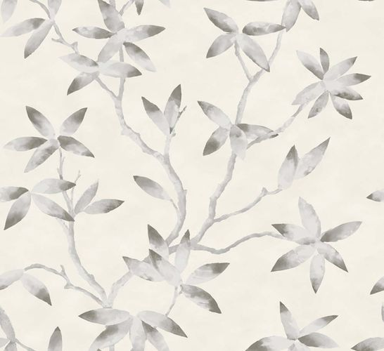 Wallpaper tendril leaf cream grey gloss 200700