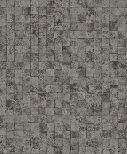 Wallpaper tiles design brown silver gloss 200716