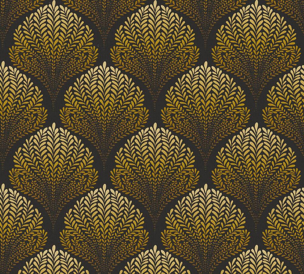 Wallpaper Floral Retro Black Gold As Creation 36310 6