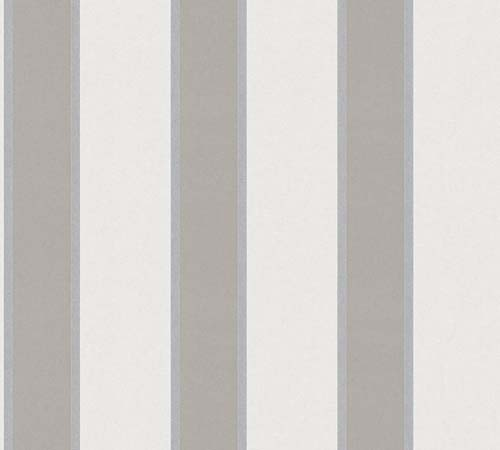 Non-Woven Wallpaper stripes light grey taupe metallic 33329-1