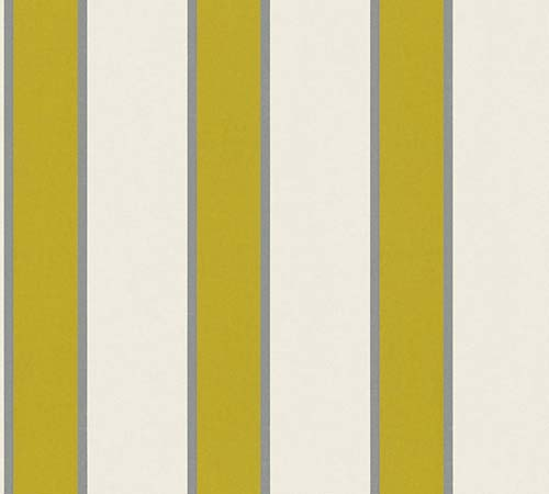 Non-Woven Wallpaper stripes cream green metallic 33329-2 online kaufen