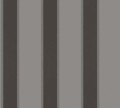 Non-Woven Wallpaper stripes grey black metallic 33329-4 online kaufen
