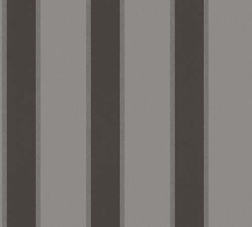 Non-Woven Wallpaper stripes grey black metallic 33329-4