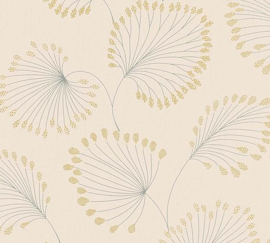 Non-Woven Wallpaper leaves cream gold metallic 33371-2