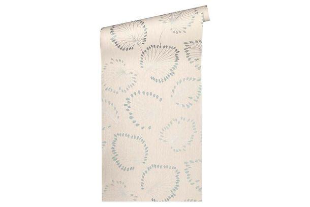 Non-Woven Wallpaper leaves cream blue metallic 33371-3 online kaufen