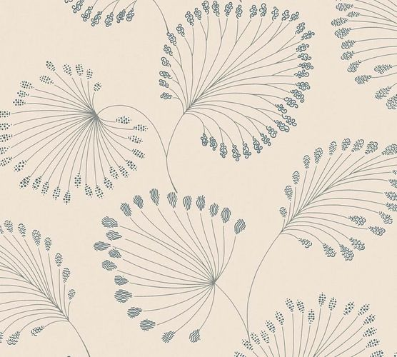 Non-Woven Wallpaper leaves cream blue metallic 33371-3 online kaufen
