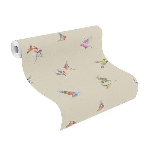 Non-woven Wallpaper Rasch Birds taupe colorful 401158 online kaufen
