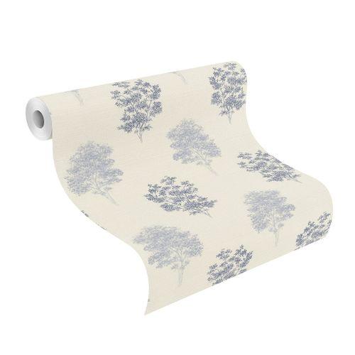 Non-woven Wallpaper Rasch Tree Nature cream blue 401547 online kaufen