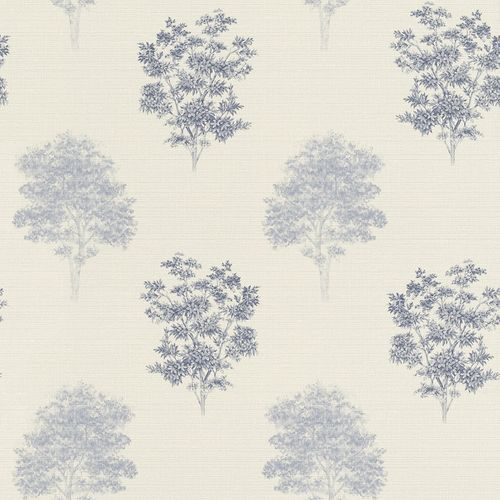 Non-woven Wallpaper Rasch Tree Nature cream blue 401547