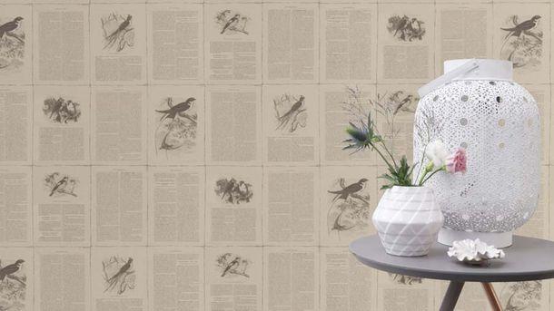 Non-woven Wallpaper Rasch Vintage Book taupe 401615 online kaufen