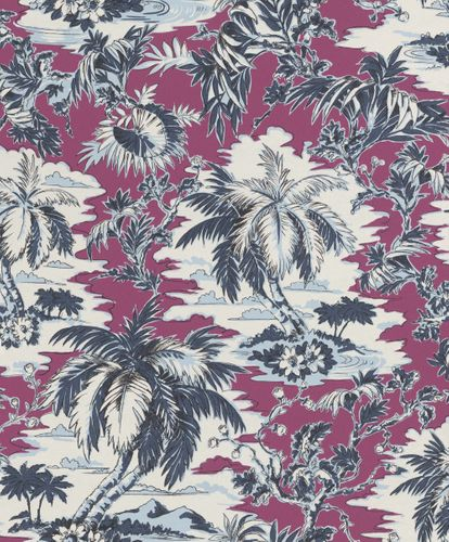 Non-Woven Wallpaper Rasch Tropical Palm purple blue 526165