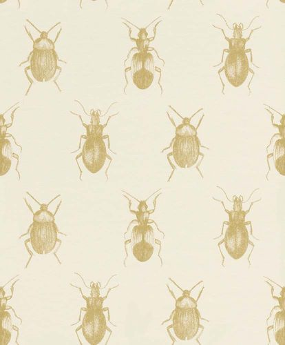 Wallpaper Beetle Bugs white gold Gloss Rasch Textil 289502
