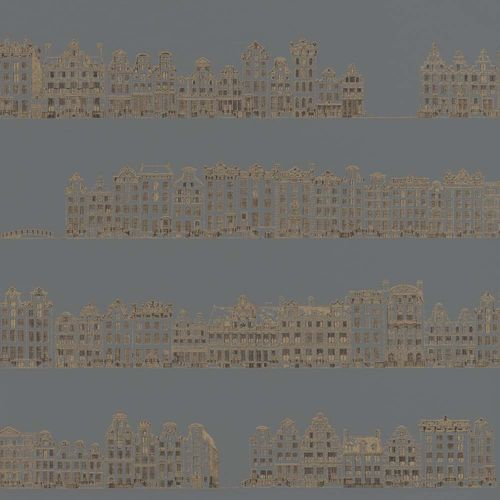 Wallpaper Row Houses grey gold Gloss Rasch Textil 289557