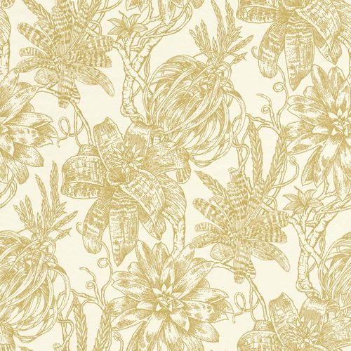 Wallpaper Flower Bloom white gold Gloss Rasch Textil 289625
