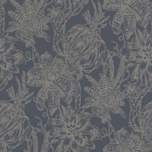 Wallpaper Flower Bloom black silver Gloss Rasch Textil 289656