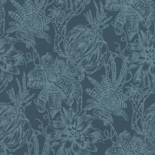 Wallpaper Flower Bloom dark blue light blue Rasch Textil 289663