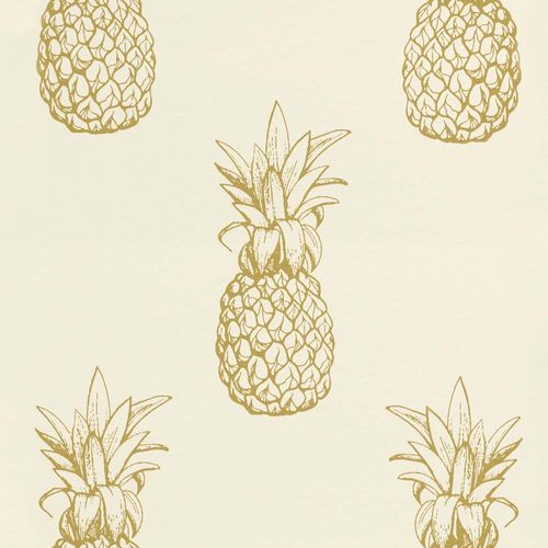 Wallpaper Pineapple Tropical white gold Gloss Rasch Textil 289687