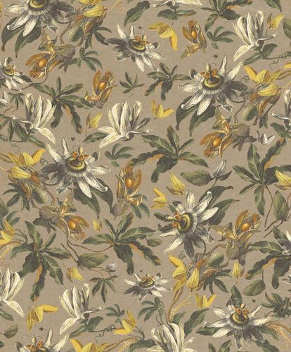 Wallpaper Flower Floral Design gold Gloss Rasch Textil 289779