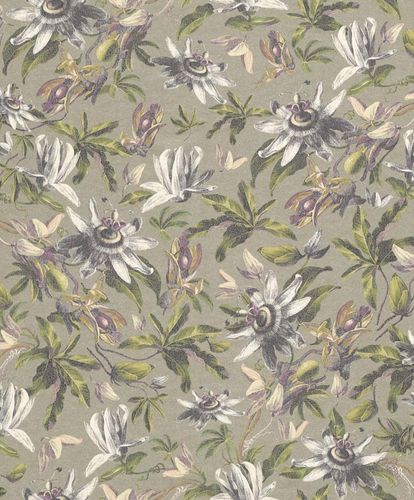 Wallpaper Flower Floral Design silver Gloss Rasch Textil 289816
