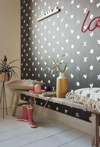 vliestapete herzen schwarz wei livingwalls cozz 36294 1. Black Bedroom Furniture Sets. Home Design Ideas
