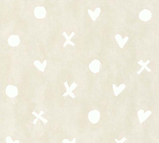 Non-Woven Wallpaper Hearts beige white livingwalls 36294-3 online kaufen