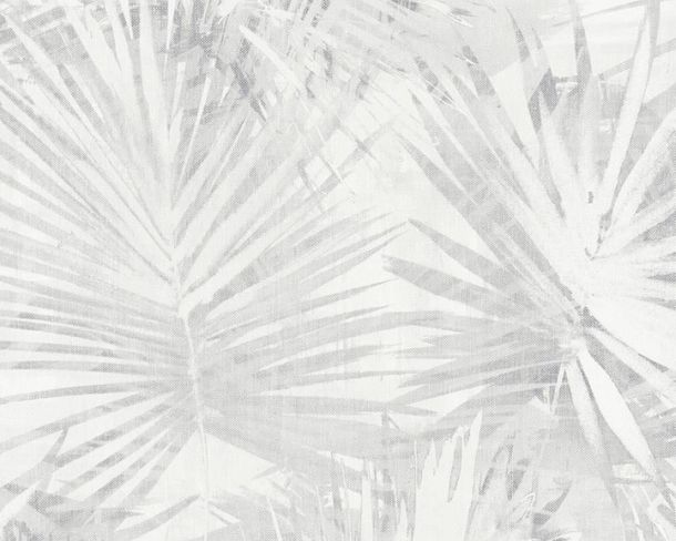 Non-Woven Wallpaper Palm Leaves light grey livingwalls 36385-1 online kaufen
