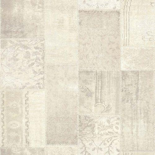 Vliestapete Patchwork Flicken grau weiß 148329