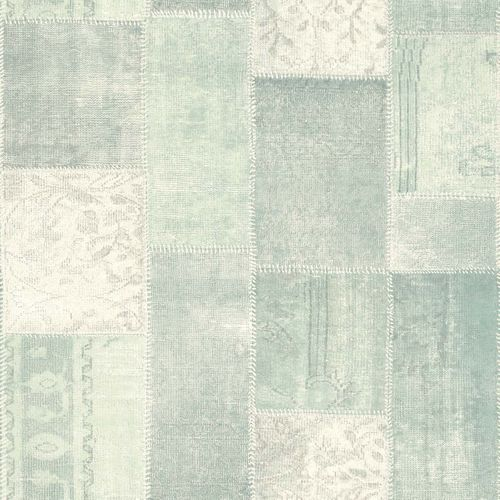 Non-Woven Wallpaper Patchwork turqoise 148650 online kaufen