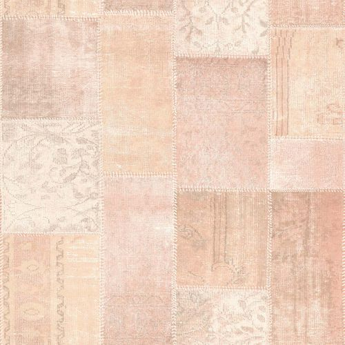 Vliestapete Patchwork Flicken rosa World Wide Walls 148651