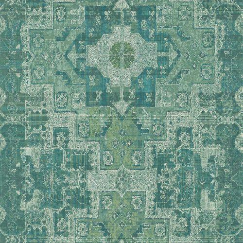 Non-Woven Wallpaper Boho Retro green 148659