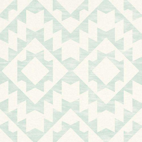 Non-Woven Wallpaper Ethno Retro turqoise 148674 online kaufen