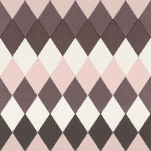 Non-Woven Wallpaper Rhombus brown pink 148681