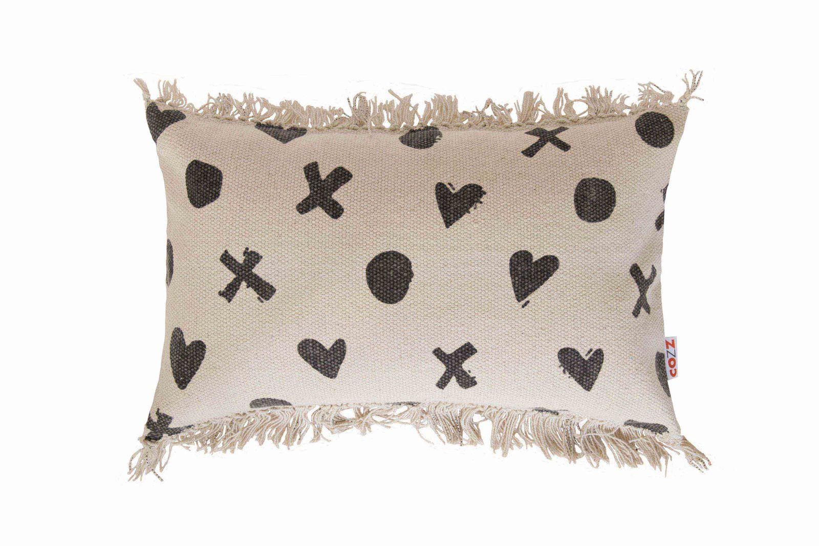 Pillow Case Cozz Hearts Fringes Faiza Graphit 30x50cm 5061 01