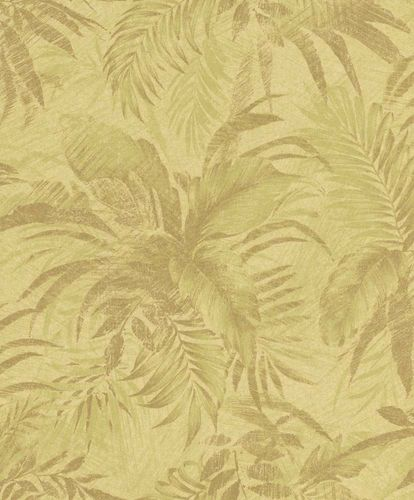 Non-Woven Wallpaper Floral yellow Glitter Rasch Textil 229133