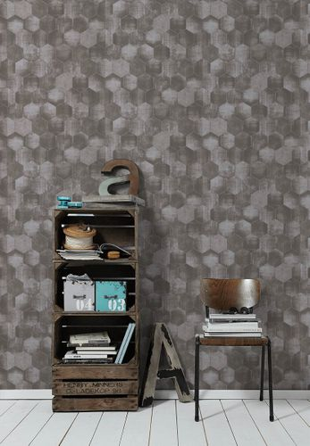 Wallpaper patina combs taupe grey gloss AS Creation 36330-2 online kaufen