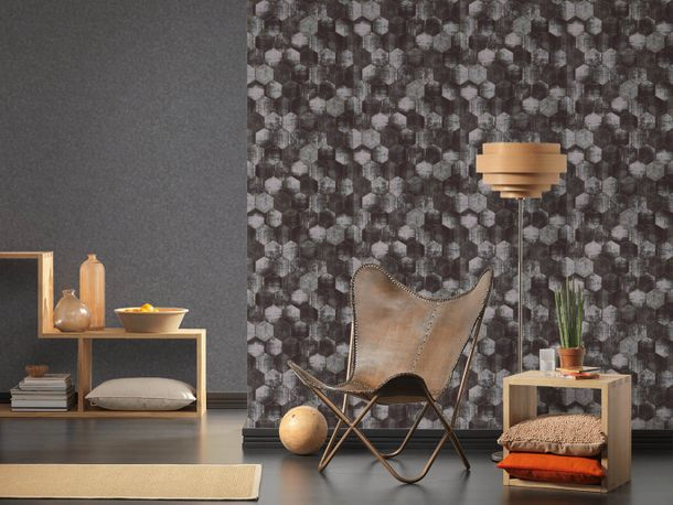 Wallpaper stone design anthracite gloss AS Creation 36372-1 online kaufen