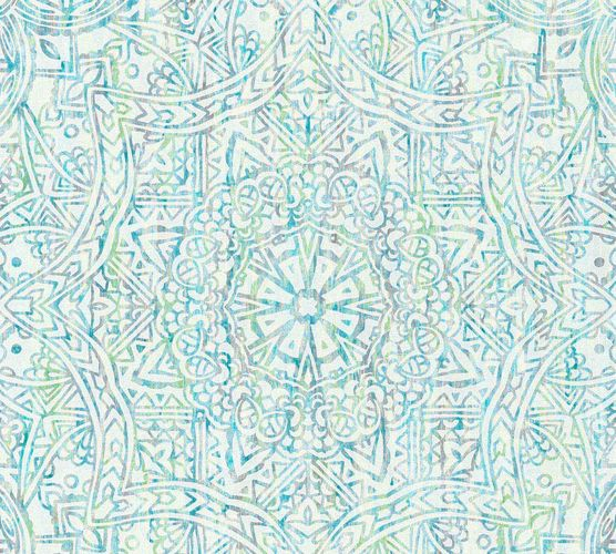 Wallpaper boho mandala turquoise white AS Creation 36461-2