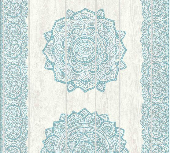 Wallpaper boho stripes turquoise white AS Creation 36462-4