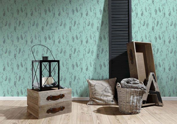 Wallpaper dreamcatcher turquoise green AS Creation 36465-2 online kaufen