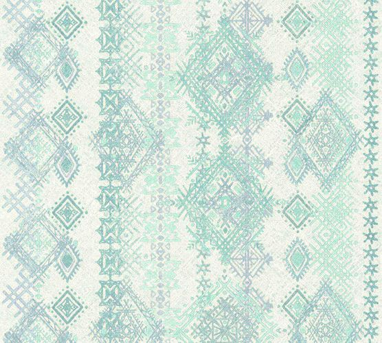 Wallpaper boho rhombs turquoise green AS Creation 36466-1