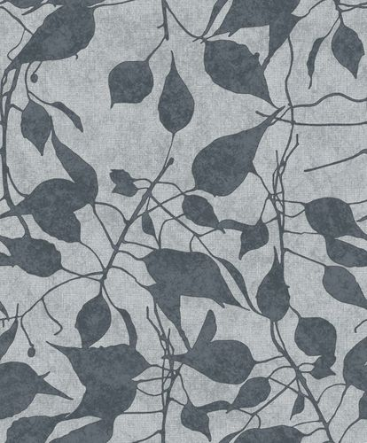 Non-woven Wallpaper Leaves blue grey 109816 online kaufen