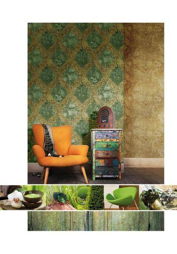 Vliestapete Ornament grün gold World Wide Walls 109845