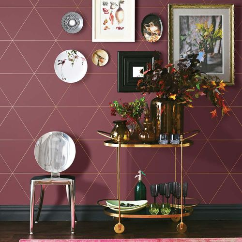 Wallpaper triangles graphic red metallic 024226 online kaufen