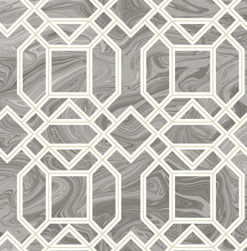 Wallpaper marbled graphic grey metallic 024245