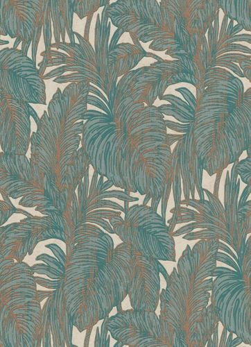 Wallpaper jungle leaf turquoise copper Erismann 5410-19 online kaufen